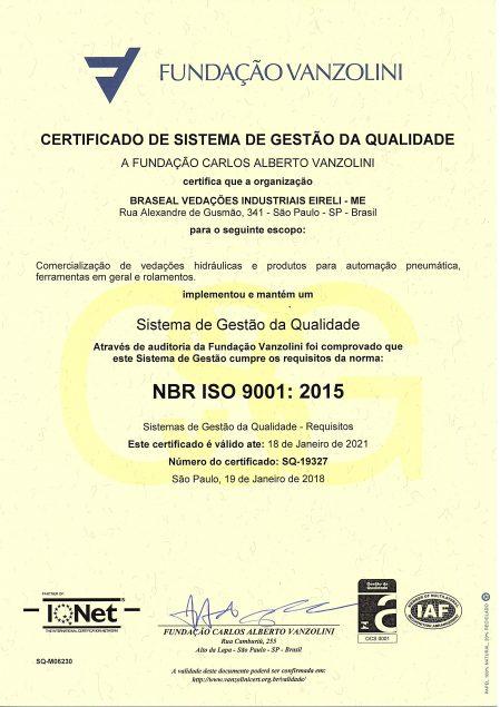 CERTIFICADO NBR ISO 9001 - 2015